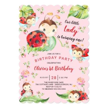 adorable little lady ladybug 1st birthday invitation
