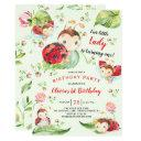 adorable little lady ladybug 1st birthday invitations