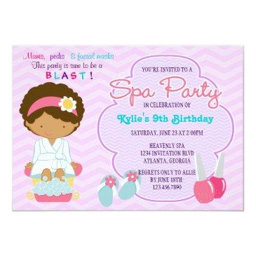 adorable pink purple spa pampering birthday party invitations