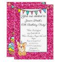 adorable unicorgi glitter birthday invitation