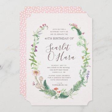 adult floral birthday invitation any age milestone