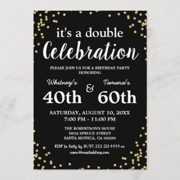 adult joint birthday party | black gold glitter invitation