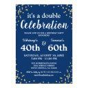 adult joint birthday party | blue gold glitter invitation