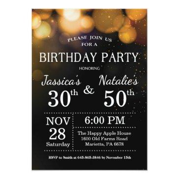 adult joint birthday party invitations gold glitter