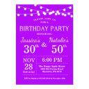 adult joint birthday party invitation purple