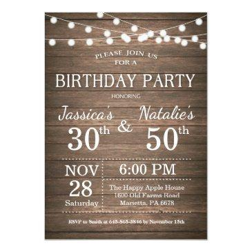 adult joint birthday party invitations rustic wood