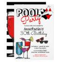 adult pool party | cocktail summer birthday invitation