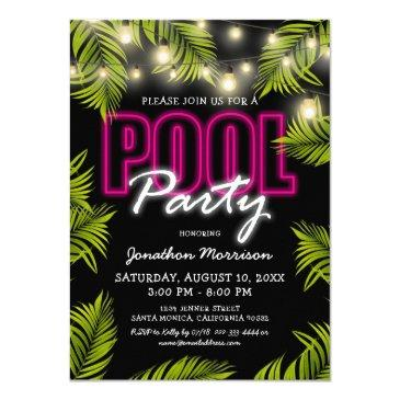 adult pool party summer beach birthday invitation