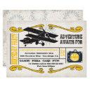 adventure airplane ticket birthday party invitations