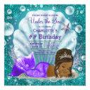 african american mermaid under the sea birthday invitation