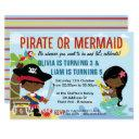 african american pirate and mermaid invitations