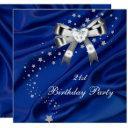 age birthday party blue silver invitation