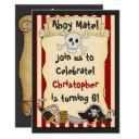 ahoy mate! pirate skull n crossbones red birthday invitation