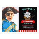 ahoy matey! boat pirate birthday photo invitations