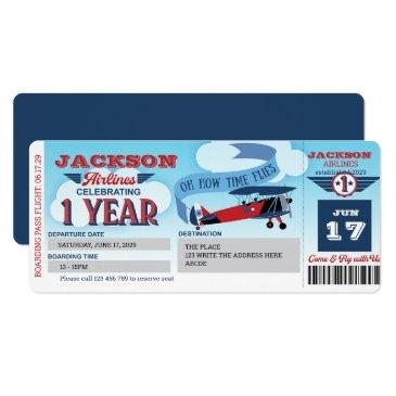 airline, plane ticket, boarding pass, 1st birthday invitation