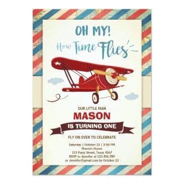 airplane birthday invitations time flies plane boy