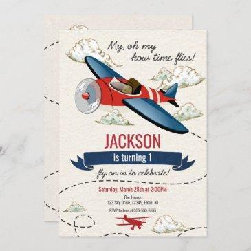airplane birthday invitation vintage time flies