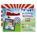 airplane kids photo 1st birthday party invitation