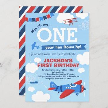 airplane one year has flown by 1st birthday invitation