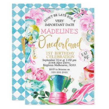 alice in onederland 1st birthday invitation