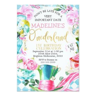 Small Alice In Onederland 1st Birthday Invitation Front View
