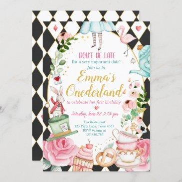 alice in onederland 1st birthday invitation girls