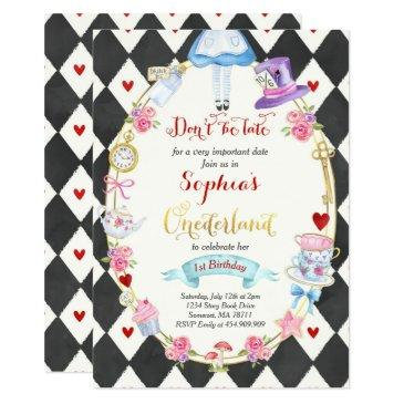 alice in onederland birthday invitations tea party