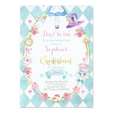 Small Alice In Onederland Birthday Invitation Tea Party Front View