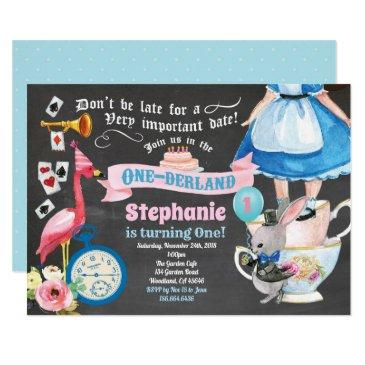 alice in onederland birthday tea party chalkboard invitation
