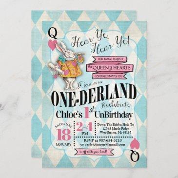 alice in wonderland 1st birthday invitations