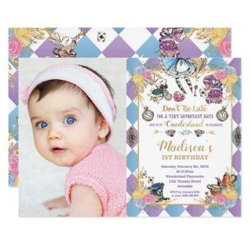 alice in wonderland 1st birthday onederland photo invitation