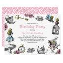 alice in wonderland birthday party polka dots invitations