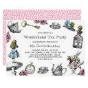 alice in wonderland tea party polka dots invitation