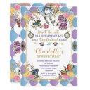alice in wonderland whimsical birthday tea party invitation