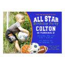 all star boys sports birthday party invitations