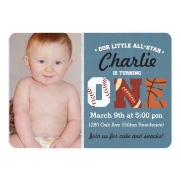 Small All-star First Birthday Invitations Front View