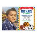all star sport birthday party photo invitation