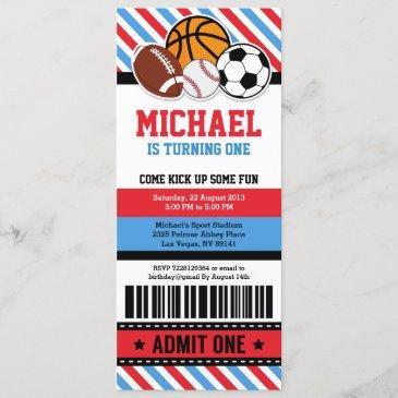 all star sport ticket pass birthday invitation