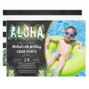 aloha flamingo tropical birds luau birthday photo invitation