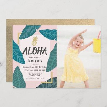 aloha hawaiian luau pineapple photo pink birthday invitation