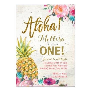 aloha pineapple first birthday invitations