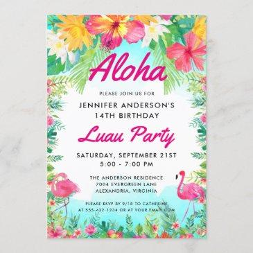 aloha tropical flamingo luau party birthday invitation