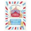 animal circus birthday invitation   red white blue