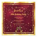 any age birthday burgundy gold champagne bubbles invitation