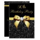 any age birthday faux sequins bow black gold invitations