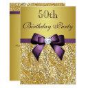 any age birthday gold faux sequins purple bow invitations