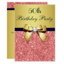 any age birthday gold navy coral sequins bow invitation