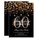 any age birthday gold string lights & stars invitation