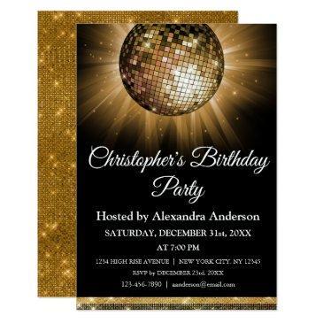 any age birthday party gold sparkle disco ball invitation