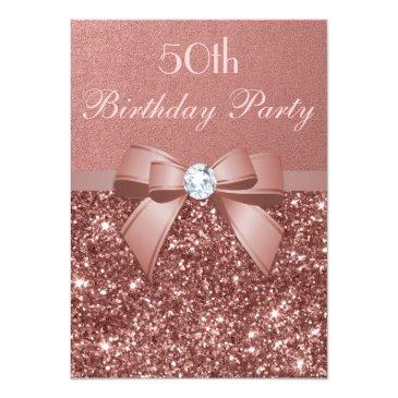 Small Any Age Birthday Rose Gold Glitter Diamond Bow Invitations Front View